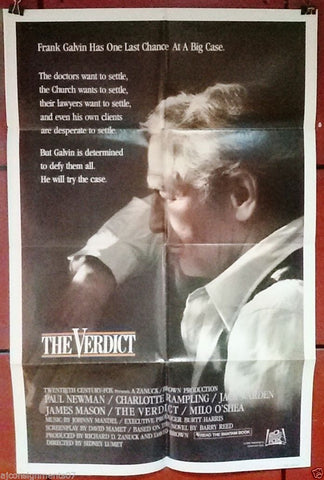 "THE VERDICT {Paul Newman} Original 41x27"" US Movie Poster 80s"