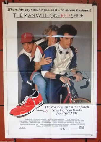 THE MAN WITH ONE RED SHOE (Tom Hanks) 40x27 M.A.P.S Australian Movie Poster 80s