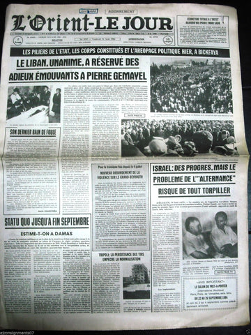 L'Orient-Le Jour {Pierre Gamayel Death} Lebanon Beirut French Newspaper 1980s