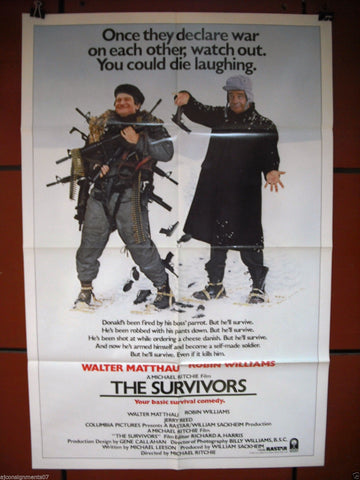 "The Survivors { Walter Matthau}  27""x41"" Orig. Movie Poster 80s"
