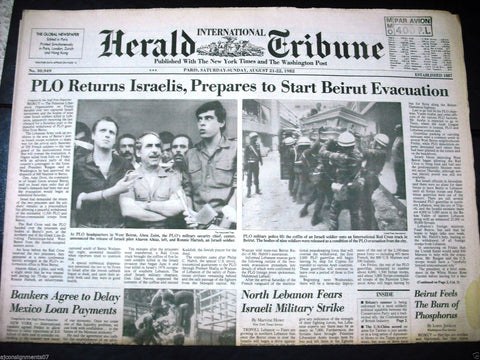 International Herald Tribune {Israeli Soldier Coffin Beirut Paris Newspaper 1982