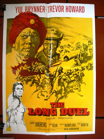 THE LONG DUEL {Yul Brynner} Original Lebanese Movie Poster 60s