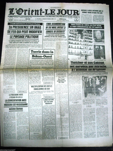 L'Orient-Le Jour {Norman Tebbit Bomb Grand Hotel} Lebanese French Newspaper 1984