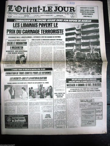 L'Orient-Le Jour {United States embassy bombing} Lebanese French Newspaper 1984