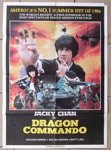 Dragon Commando (Jacky Chan) Original Philippines Kung Fu Movie Poster 80s