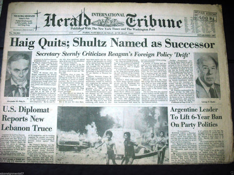 International Herald Tribune {Beirut Car Bombing Civil War} Paris Newspaper 1982