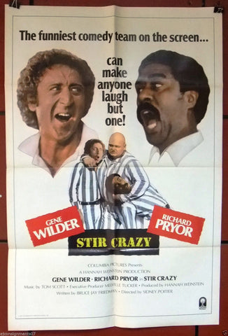 "STIR CRAZY {RICHARD PRYOR}  27""x41"" Original Movie Poster 80s"