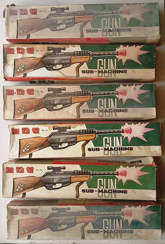 Lot of 6 Vintage SubMachine Gun Battery Not working Tin Toy Box ME 659 China 60s
