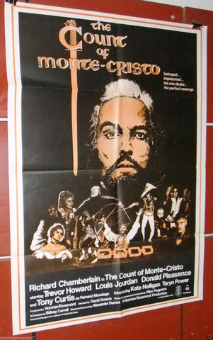 "The Count of Monte Cristo RICHARD C. 40x27"" Original Lebanese Movie Poster 70s"