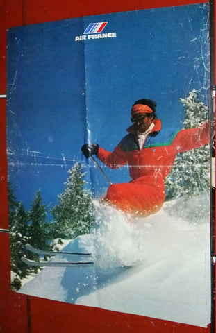 "Air France Ski French Travel 23""x31"" Original Poster 1980s?"