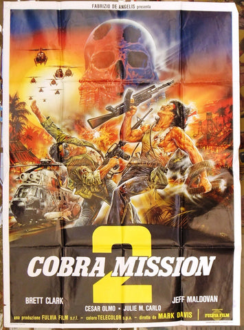 COBRA MISSION 2 BRETT CLARK 2F Italian Movie Poster 80s