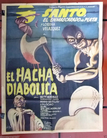 "El Hacha Diabolica (SANTO) 24x32"" Original MEXICO Movie Poster 60s"