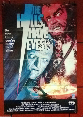 "The Hills Have Eyes Part II 39x27"" Original Lebanese Movie Poster 80s"