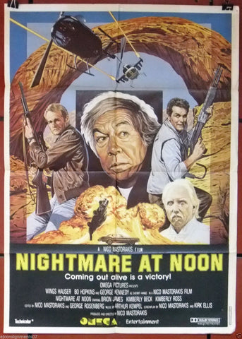NIGHTMARE AT NOON (George Kennedy) Original Lebanese Movie Poster 80s