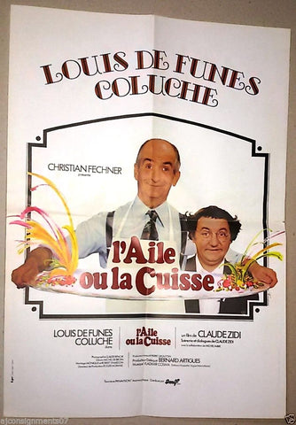 "L'AILE OU LA CUISSE {Claude Zidi} 15""x21"" French Movie Poster 70s"
