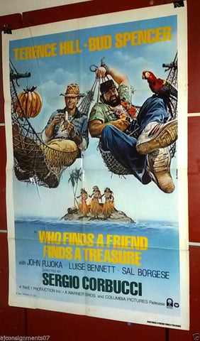 "Who Finds A Friend Finds {Terence Hill} 27""x41"" Original Int. Movie Poster 80s"
