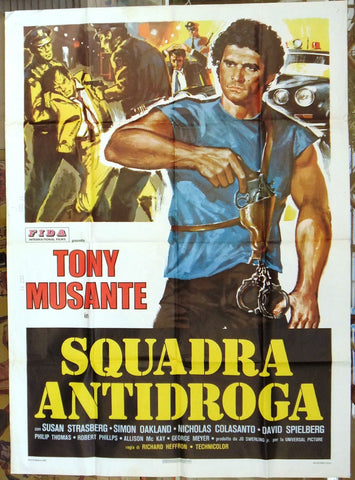 SQUADRA ANTIDROGA TONY MUSANTE Italian movie Poster (2F) 70s