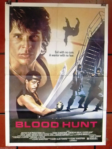 "BLOOD HUNT {David Bradley} 40x27"" Original Lebanese Movie Poster 80s"