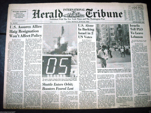 International Herald Tribune {Space Columbia Lift} Paris Global Newspaper 1982