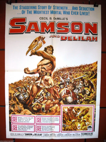 Samson And Delilah {VICTOR MATURE} re-release Lebanese Movie Poster 50s