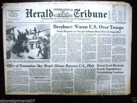 International Herald Tribune {Israel Tanks Palestinian Guerrilla} Newspaper 1982