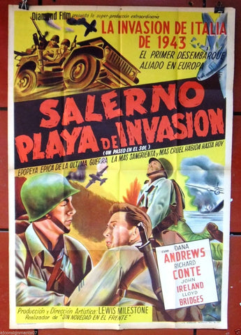 SALERNO PLAYA DE INVASIONA, A WALK IN THE SUN Argentinean Orig. Movie Poster 40s