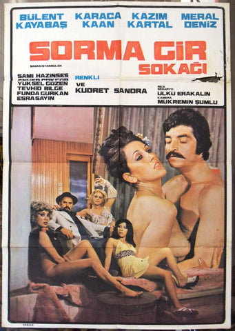 Sorma Gir Sokagi {Bülent Kayabas} Adult Turkish Original Movie Poster 70s