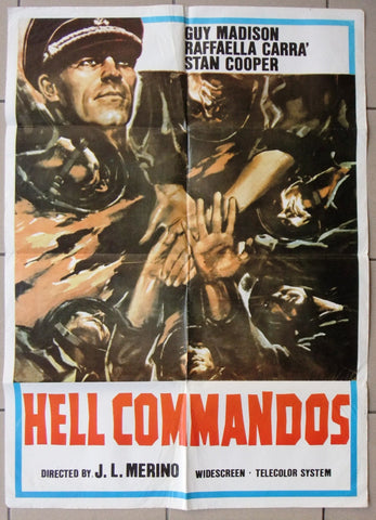 "Hell Commandos {Guy Madison} 39x27"" Lebanese Original Movie Poster 60s"