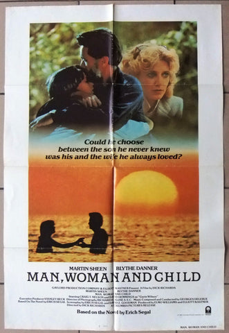 "Man Woman and Child {Martin Sheen} 41""x27"" US Original Movie Poster 80s"