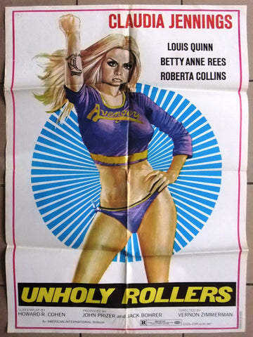 "Unholy Rollers (Claudia Jennings) 27x39"" Org Lebanese Movie Poster 70s"