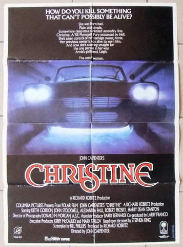 "Christine {John Carpenter} 39x27"" Original Lebanese Movie Poster 80s"