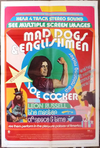 "MAD DOGS AND ENGLISHMEN {JOE COCKER} 41x27"" ORG Movie Poster 70s"