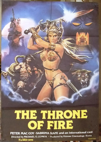 "Throne of Fire ""Il trono di fuoco"" Original Lebanese Movie Poster 80s"