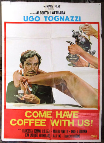 "Come Have Coffee with Us 27x39"" Ugo Tognazzi Original Lebanese Movie Poster 70s"