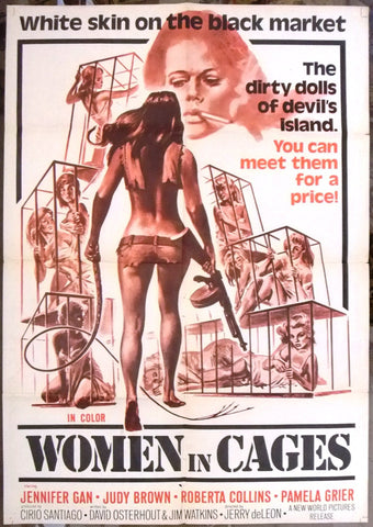 "Women In Cages (Roger Corman) 41x27"" Original Movie Poster 70s"