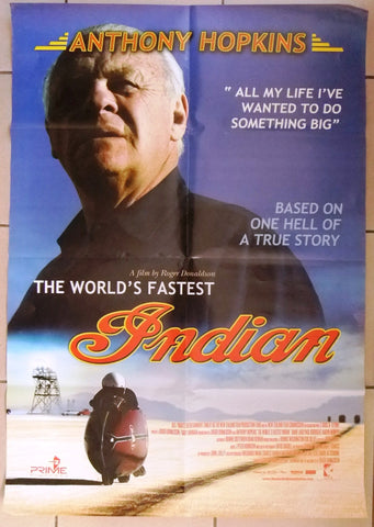 "THE WORLD'S FASTEST INDIAN - Anthony Hopkins  39x27"" Org. Int Movie Poster 2000s"