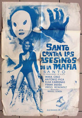 Santo contra los asesinos de la Mafia Original Movie Poster 70s