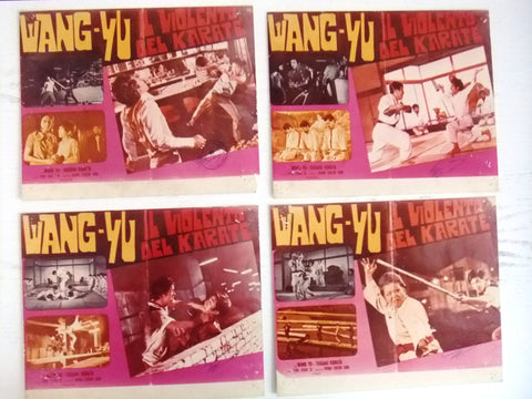 "{Set of 8} il Violento del Karate Wang Yu Kung Fu 8x10"" Movie Color Photos 70s"