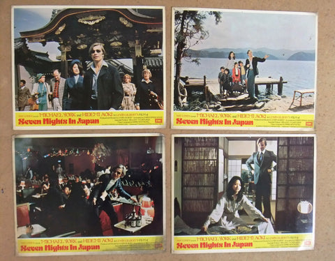 (Set of 8) Seven Nights In Japan (Michael York) 11x14 Org. U.K Lobby Cards 70s