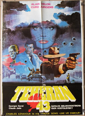 "Teheran-43 (Alain Delon) 39x27"" Original Lebanese Movie Poster 80s"