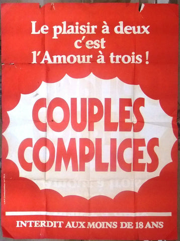"COUPLES COMPLICES {Andre Chazel} 47""x63"" French Movie Poster 70s"