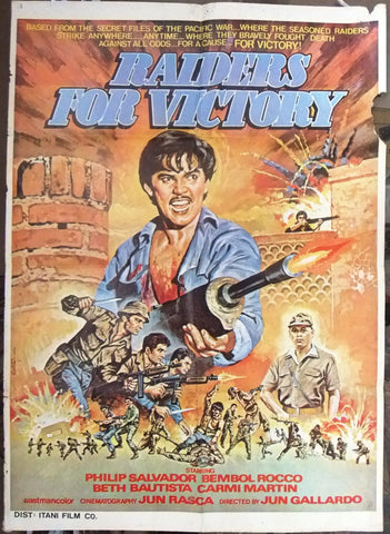 "Raiders for Victory (Phillip Salvador) 39x27"" Original Lebanese Movie Poster 80s"