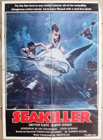 "SEA Killer Dayton KA'NE 39x27"" Original Lebanese Movie Poster 80s"