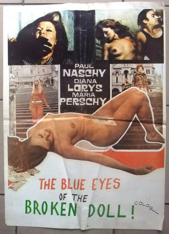 "Blue Eyes of the Broken Doll ( Diana Lorys) Org 20x27"" Lebanese Movie Poster 70s"