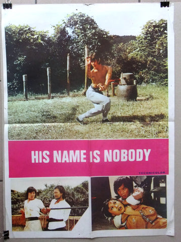 "His Name Is Nobody (Lau Kar-wing) Org 20x27"" Lebanese Kung Fu Movie Poster 70s"