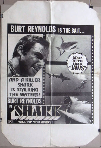 "Shark {Burt Reynolds} Original 41x27"" Movie US Poster 70s"