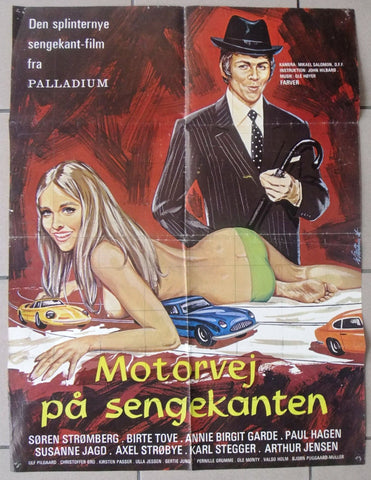 MOTORVEJ PA SENGEKANTEN {Birte Tove} Danish Original Movie Poster 70s
