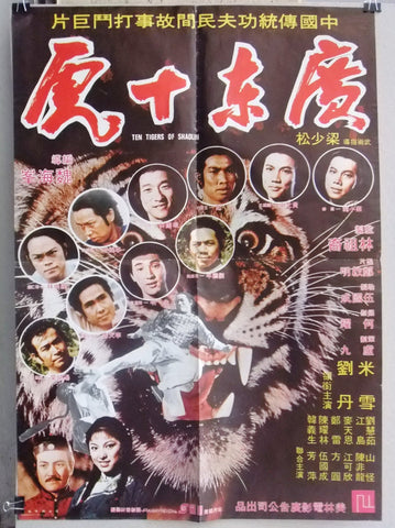 Ten Tigers of Shaolin (Bruce Leung) Org. Kung Fu Movie Rare Chinese Poster 70s