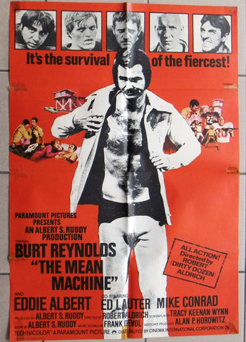 "MEAN MACHINE {Burt Reynolds} 41x""27"" British Movie Poster 70s"