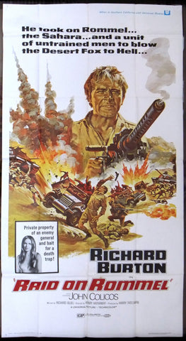 "RAID ON ROMMEL Intl {Richard Burton} 3sht Org 41x81"" Movie Poster 70s"